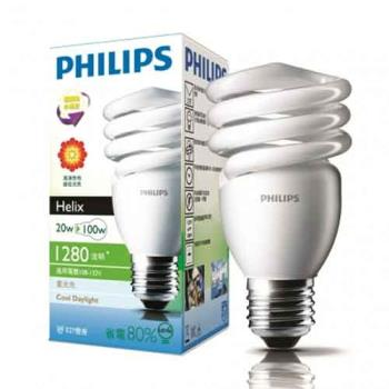 PHILIPS飛利浦 HELIX 20W 省電燈泡 白光/黃光 E27(12入組)