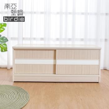 Birdie南亞塑鋼-4尺拉門/推門塑鋼坐式鞋櫃/穿鞋椅(白橡色+白色)
