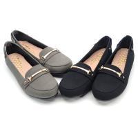 【 cher美鞋】MIT質感金飾舒適乳膠鞋墊平底豆豆美鞋-黑色/灰色 0791121689-89
