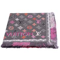 LV M71400 Pop Monogram雙面彩色織花純棉披巾/圍巾(黑色)