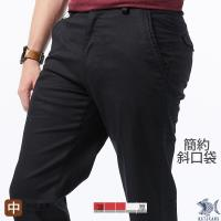 NST Jeans 斜口袋 大尺碼 男休閒黑長褲-中腰直筒 397(66557)