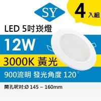 【SY 聲億】【四入】超薄型崁燈 12W -黃光