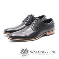 WALKING ZONE 嚴選木紋跟尖頭綁帶男皮鞋(黑)