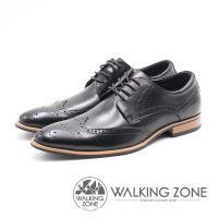 WALKING ZONE 雕花壓紋尖頭綁帶車縫男皮鞋-黑(另有棕)
