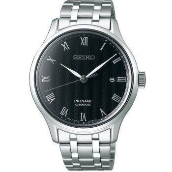 SEIKO精工 Presage 日禪風格羅馬機械錶(黑/41mm) 4R35-02S0D SRPC81J1