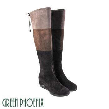 GREEN PHOENIX 三彩撞色綁帶蝴蝶結牛麂皮楔型過膝靴U35-23122