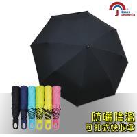【Kasan】快收可扣式抗風防曬晴雨傘(純黑)