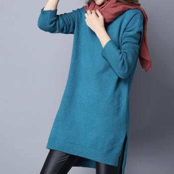 【Abbie】韓版V領側開叉針織毛衣