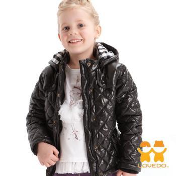 LOVEDO-艾唯多童裝 英倫搖滾甜心 連帽保暖鋪棉外套(黑) J1102309