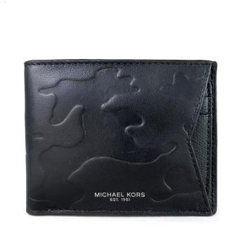 MICHAEL KORS CAMDEN黑色雙折式全皮革短夾(附活動抽取卡夾)