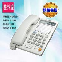 贈德國手電筒 【Panasonic 國際牌】雙外線有線電話KX-T2378(白色)