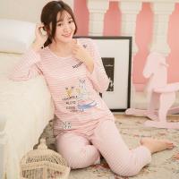 lingling日系 牛奶絲小兔橫條紋二件式睡衣組(共二色,全尺碼)