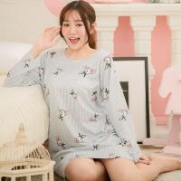 lingling日系 條紋蝶結兔子牛奶絲連身裙睡衣(全尺碼)
