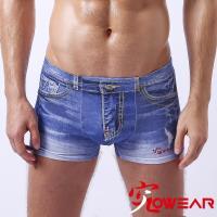 【究jowear】仿丹寧棉質彈性四角男內褲/平口褲 -藍色刷白漸變色 (U3006)