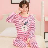 lingling日系 條紋兔子棉質二件式睡衣組(全尺碼)