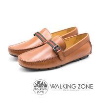WALKING ZONE 紅綠織帶牛皮樂福鞋 男鞋 - 棕(另有藍)