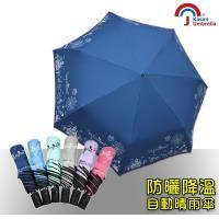 【Kasan】貓頭鷹降溫黑膠自動晴雨傘萬聖款(深藍)