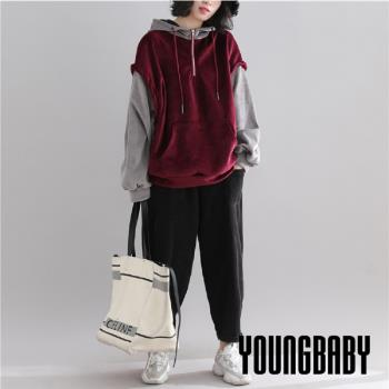 YOUNGBABY中大碼- 金絲絨撞色拼接加絨假兩件式上衣.共2色