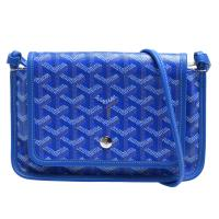 GOYARD Plumet系列防水帆布LOGO牛皮飾邊手拿/斜背包(藍)