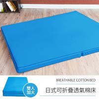 戀香 日式可折疊超厚感8CM透氣二折棉床 - 雙人加大藍色