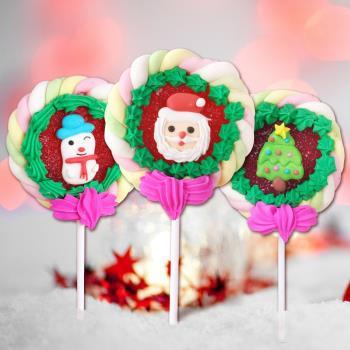 【福伯】超Q聖誕造型棉花棒棒糖-6支組(65g/支)