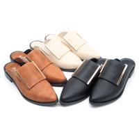 【cher美鞋】MIT小尖頭質感金飾前包後空便利懶人美鞋-黑色/米色/棕色 36-40碼-0721102730-18