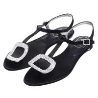 ROGER VIVIER 經典金屬方框造型水鑽鑲嵌T字夾腳平底涼鞋(黑)