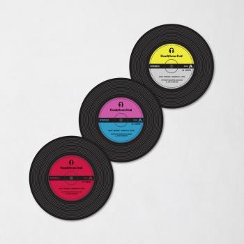 HeadphoneDog 唱片造型隔熱杯墊/杯蓋(一組2入)