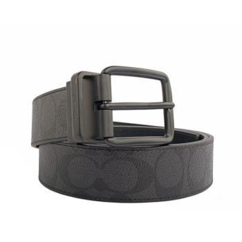 COACH PVC LOGO雙面用皮帶(寬)(黑灰色) F64839 BKBK