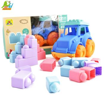 Playful Toys 頑玩具 軟質積木吉普車HG897(軟膠積木 大顆粒積木 寶寶積木 軟質積木)