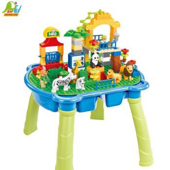Playful Toys 頑玩具 動物園大積木桌HG1933(積木底板桌 積木收納桌 積木遊戲桌 主題積木)