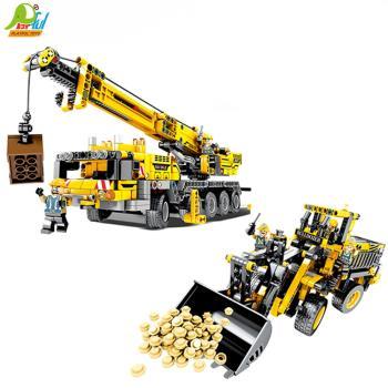 Playful Toys 頑玩具 工程車積木701800(積木推土機 積木吊車 積木工程組 積木模型 小顆粒積木)
