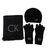 CK毛料圍巾+毛帽+手套三件式組合
