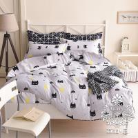 AGAPE亞加‧貝  MIT台灣製-神祕之夜 舒柔棉雙人5尺三件式薄床包組(百貨專櫃精品)