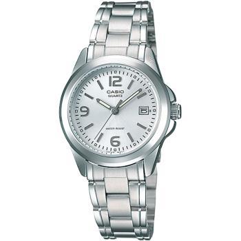 CASIO 時尚經典數字刻度女錶-白(LTP-1215A-7A)