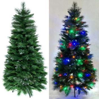 摩達客 6尺/6呎(180cm) 彈簧摺疊豪華松針混葉綠色聖誕樹+LED100燈串彩光一條