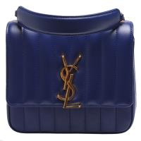 YSL vicky matelassé系列品牌金屬LOGO絎縫小羊皮肩背/斜背包(中-藍)