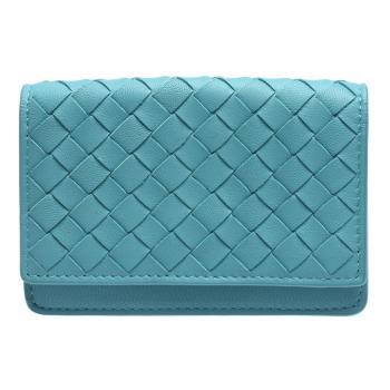 BOTTEGA VENETA 經典小羊皮編織暗釦名片/零錢包(水綠色-展示品)
