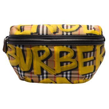 BURBERRY 經典Bum Bags系列塗鴉格紋帆布皮革飾邊腰包/斜背包(大-亮黃)