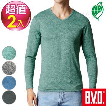 BVD 再生彩紋輕暖絨V領長袖衫 四色可選-2入組