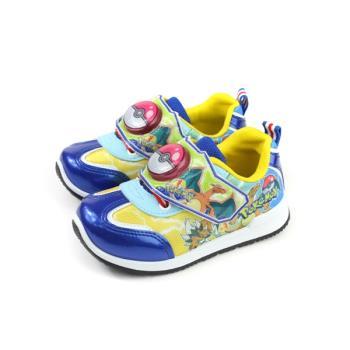 神奇寶貝 寶可夢 皮卡丘 運動鞋 電燈鞋 魔鬼氈 童鞋 藍色 中童 PA5267 no748