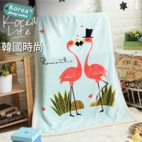 伊柔寢飾 超可愛韓風兒童羊羔童毯-戀愛火烈鳥