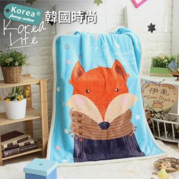 伊柔寢飾 超可愛韓風兒童羊羔童毯-圍巾狐狸