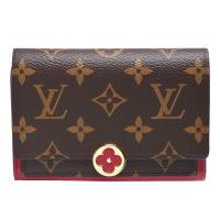 LV M64588經典Flore系列Monogram帆布印花牛皮飾邊花卉暗釦短夾(紫紅色)