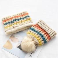 【米蘭精品】毛帽針織圍脖(兩件套)-彩色條紋加絨加厚男女帽子6色73ug32