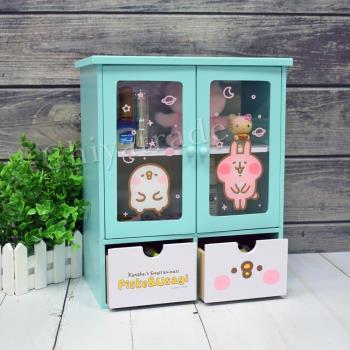 Kanahei 卡娜赫拉 透明磁吸雙拉門 抽屜櫃 收納櫃 置物櫃 桌上收納(正版授權台灣製)-淺湖綠