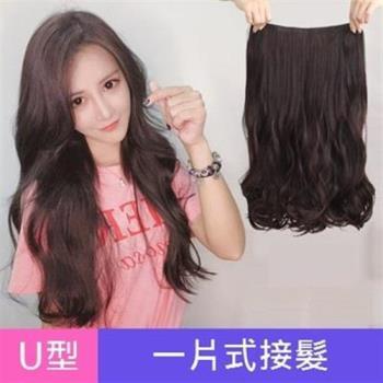 【米蘭精品】假髮髮片-U型半頭套60cm長直髮捲髮女假髮4色73uh3