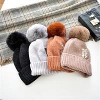 【米蘭精品】毛帽針織帽-仿貉子毛毛球純色字母男女帽子7色73ug14