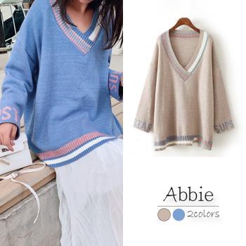 【Abbie】韓版傭懶風撞色不規則V領針織上衣