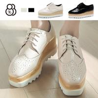 【88%】休閒鞋-跟高6.5cm 厚底簡約牛津鞋鬆糕鞋 百搭素色純色 休閒鞋